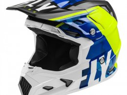 Casque cross Fly Racing Toxin Mips Transfer bleu/jaune fluo/blanc