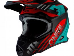 Casque cross ONeal 2SRS Spyde 2.0 noir/turquoise/rouge