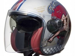 Casque jet Premier VANGARDE PINUP OLD STYLE argent