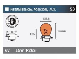 Ampoule Vicma S3 P26S 6V 15W Orange