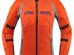 Blouson textile femme Icon Contra 2 gris / orange