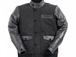 Blouson textile Ride And Sons VARSITY Cow Skin & Waxed noir / anthracite