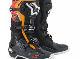 Bottes cross Alpinestars Tech 10 gris / orange / rouge fluo