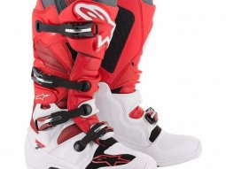 Bottes cross Alpinestars Tech 7 blanc / rouge / burgundy