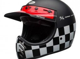 Casque Bell Moto 3 Fasthouse Checkers mat / brillant noir / blanc / rouge -