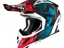 Casque cross Airoh Aviator Ace Kybon bleu / rouge brillant