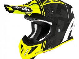 Casque cross Airoh Aviator Ace Kybon jaune mat