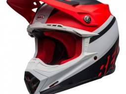 Casque cross Bell Moto-9 Mips Prophecy mat blanc / rouge / noir