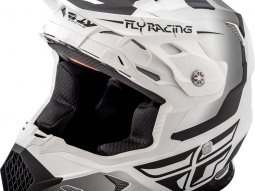 Casque cross Fly Racing Toxin blanc mat / noir