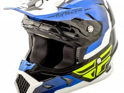 Casque cross Fly Racing Toxin bleu / noir / blanc