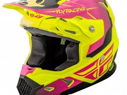Casque cross Fly Racing Toxin jaune fluo mat / rose