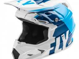 Casque cross Fly Racing Toxin Mips Transfer bleu / blanc mat