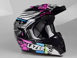 Casque cross Lazer MX8 Flash Pure Glass noir / multicolore