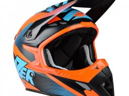 Casque cross Lazer MX8 X-team Carbon carbone / bleu / orange mat