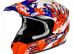 Casque cross Scorpion VX-16 Air Oration blanc / bleu / rouge mat