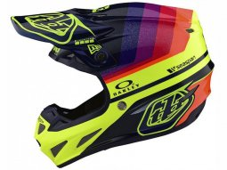 Casque cross Troy Lee Designs SE4 Carbon Mirage navy / jaune fluo