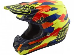 Casque cross Troy Lee Designs SE4 Composite Maze jaune / bleu