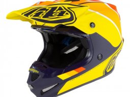Casque cross Troy Lee Designs SE4 Polyacrylite Beta navy / jaune
