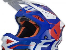 Casque cross UFO Diamond bleu / rouge / blanc