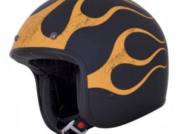 Casque jet AFX FX76 FLAME noir / orange mat