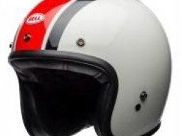 Casque jet Bell Custom 500 Ace Café Stadium Gloss argent / rouge /...