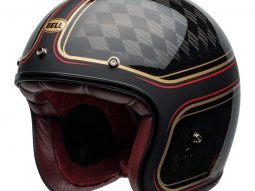 Casque jet Bell Custom 500 Carbon DLX RSD Checkmate mat / brillant noir /
