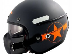 Casque jet Harisson Corsair Star Déco Gris / orange mat