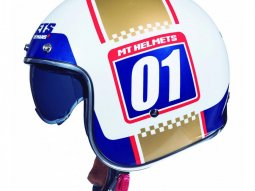 Casque jet MT Helmets Le Mans 2 SV Numberplate blanc - or nacré
