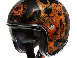 Casque jet Premier Vintage BD orange chrome