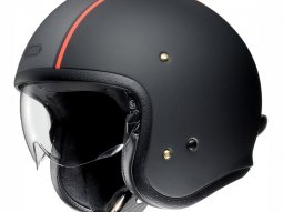 Casque jet Shoei J.O Carburettor TC-8 Mat gris / noir / rouge fluo