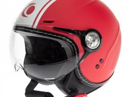 Casque jet Trendy T-203 Strip rouge / blanc mat
