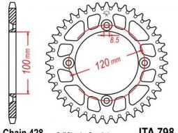 Couronne JT Sprockets Aluminium pas 428 48 dents
