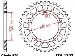 Couronne JT Sprockets Aluminium pas 520 44 dents