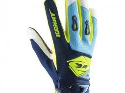 Gants cross Kenny Track navy / cyan / jaune fluo