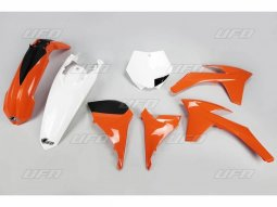Kit plastique UFO KTM 250 SX-F 11-12 orange / blanc (couleur origine)