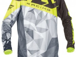 Maillot cross Fly Racing Kinetic Crux noir / jaune / gris