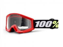 Masque cross enfant 100% Strata mini Red Clear lens